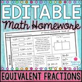 4th Grade Math Homework Week 16 {NO PREP} Spiral Review CCSS [4NF1, 4NF2]