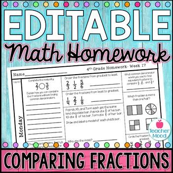 4th Grade Math Homework Week 17 {NO PREP} Spiral Review CCSS [4NF1, 4NF2]