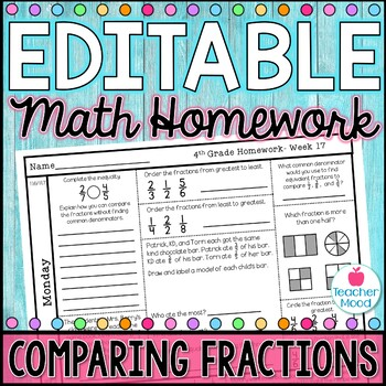 4th Grade Math Homework Week 17 {NO PREP} Spiral Review CCSS [4NF1, 4NF2]