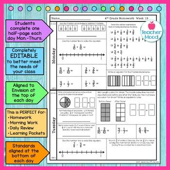 4th Grade Math Homework Week 19 {NO PREP} Spiral Review CCSS [4NF3]