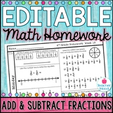 Math Homework Week 19 -  Add & Subtract Fractions; Improper Fractions [4NF3]