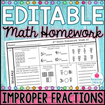 4th Grade Math Homework Week 20 {NO PREP} Spiral Review CCSS [4NF3]