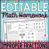 Math Homework Week 20 -  Improper Fractions & Mixed Numbers [4NF3]