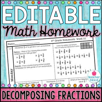 4th Grade Math Homework Week 21 {NO PREP} Spiral Review CCSS [4NF3]