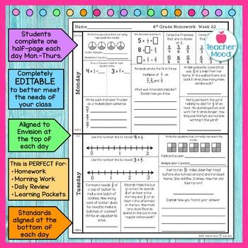 4th Grade Math Homework Week 22 {NO PREP} Spiral Review CCSS [4NF4]