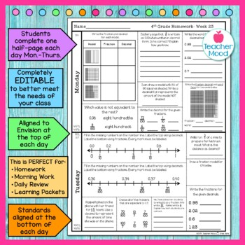 4th Grade Math Homework Week 23 {NO PREP} Spiral Review CCSS [4NF5, 4NF6, 4NF7]