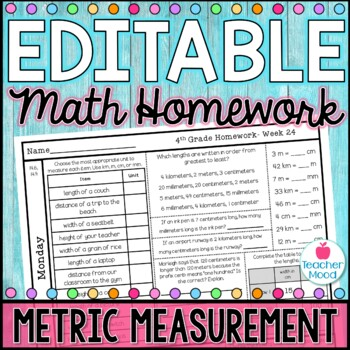 4th Grade Math Homework Week 24 {NO PREP} Spiral Review CCSS [4MD1, 4MD2]