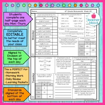 4th Grade Math Homework Week 25 {NO PREP} Spiral Review CCSS [4MD1, 4MD2]