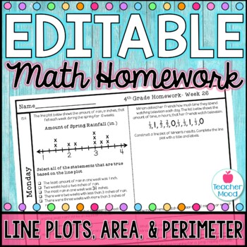 4th Grade Math Homework Week 26 {NO PREP} Spiral Review CCSS [4MD3, 4MD4]