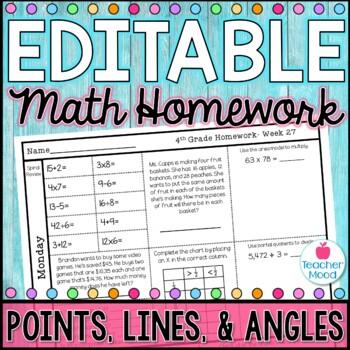 4th Grade Math Homework Week 27 {NO PREP} Spiral Review CCSS [4G1, 4G2, 4G3]