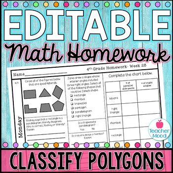 4th Grade Math Homework Week 28 {NO PREP} Spiral Review CCSS  [4G2, 4MD5]