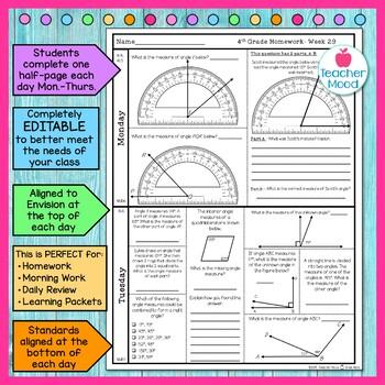 4th Grade Math Homework Week 29 {NO PREP} Spiral Review CCSS  [4MD5, 4MD6, 4MD7]