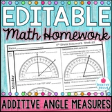 4th Grade Math Homework Week 29 {NO PREP} Spiral Review CCSS  [4MD5, 4MD6, 4MD7]