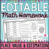 4th Grade Math Homework Week 3 {NO PREP} Spiral Review [4NBT1, 4NBT2, 4NBT3]