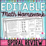 4th Grade Math Homework Week 30 {NO PREP} *Spiral Review - Test Prep* CCSS