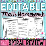 4th Grade Math Homework Week 31 {NO PREP} *Spiral Review - Test Prep* CCSS