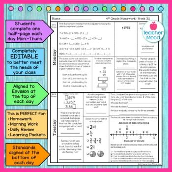4th Grade Math Homework Week 32 {NO PREP} *Spiral Review - Test Prep* CCSS