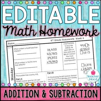 4th Grade Math Homework Week 4 {NO PREP} Spiral Review CCSS [4NBT4, 4OA3]