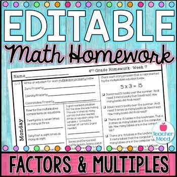 4th Grade Math Homework Week 7 {NO PREP} Spiral Review CCSS [4OA1, 4OA2, 4OA4]