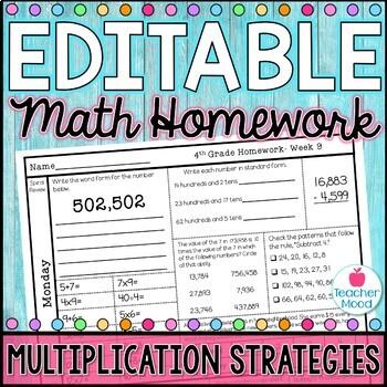 4th Grade Math Homework Week 9 {NO PREP} Spiral Review CCSS [4NBT5, 4OA3]
