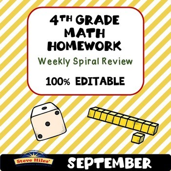 4th Grade Math Homework Weekly Spiral Review