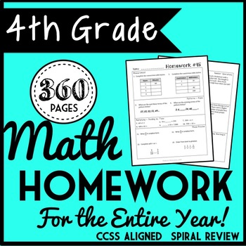 4th Grade Math Homework for the Entire Year! Morning Work, Spiral Review, Do-Now