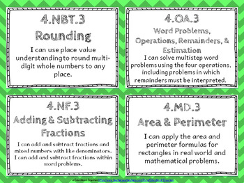 """4th Grade Math """"I CAN"""" Statements for Common Core State Standards (Fourth)"""