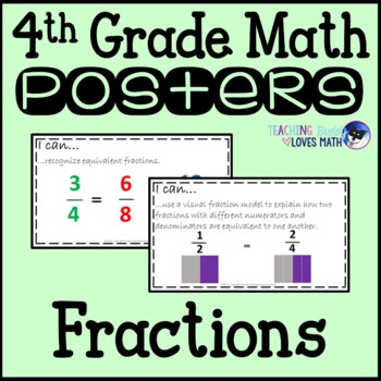 Math Posters Fractions 4th Grade Common Core Buddy {28 Posters!}