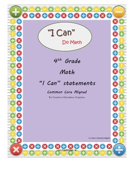 "4th Grade Math: ""I Can"" Statements"