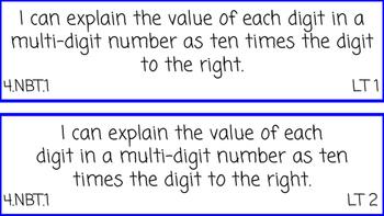 4th Grade Math I Can Statements