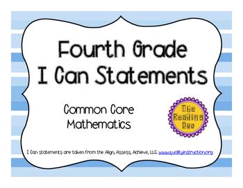 4th Grade Common Core Math I Can Statements