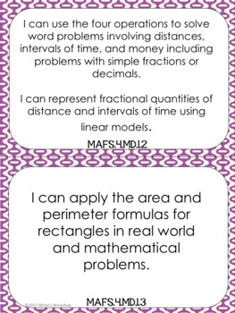 4th Grade Math I Can Statements: Florida Standards