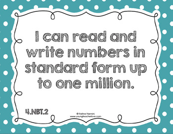 4th Grade Math I Can & We Can Statement Posters {Kid Language}