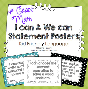 I Can Statements 4th Grade Math Posters | I Can & We Can - Kid Language