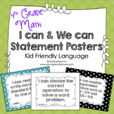 I Can Statements 4th Grade Math Posters | I Can & We Can -