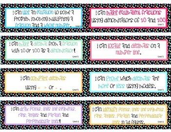 "4th Grade Math ""I Can"" statement cards - Polka Dots"