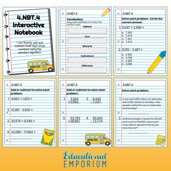 4th Grade Math Interactive Notebook, Digital + Paper (Google & PDF Formats)