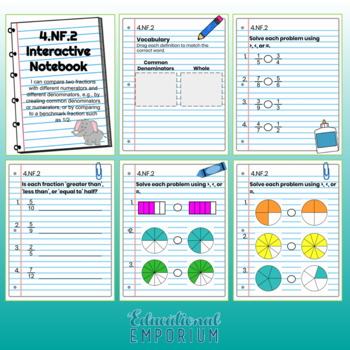 4th Grade Math Interactive Notebook, NF (Fractions)