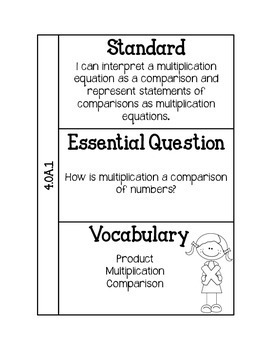4th Grade Math Interactive Notebook for Standards, Essential Questions, & Vocab