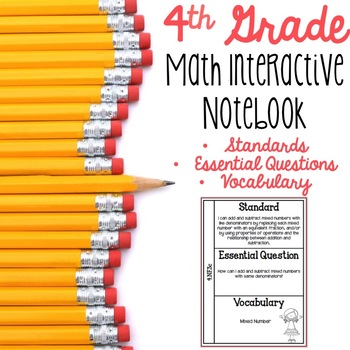 4th Grade Math Interactive Notebook for Standards, Essenti