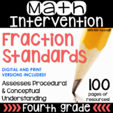 4th Grade Math Intervention NO PREP PACK RTI Guided Math FRACTIONS