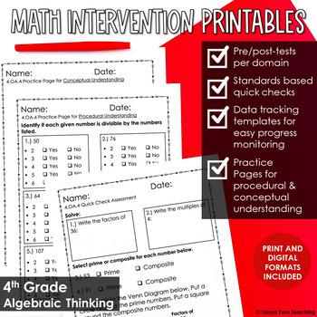 4th Grade Math Intervention NO PREP PACK RTI Guided Math 4