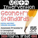 4th Grade Math Intervention Pack Geometry  RTI NO PREP Gui