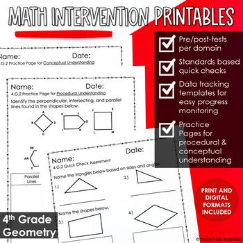 4th Grade Math Intervention Pack Geometry  RTI NO PREP Gui