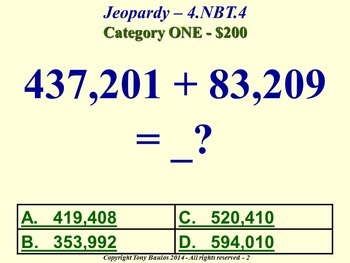 4th Grade Math Jeopardy - Add and Subtract Multi-Digit Whole Numbers 4.NBT.4