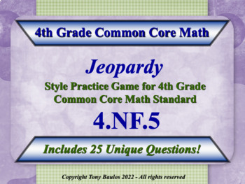 4th Grade Math Jeopardy Game - Add & Express Fractions As