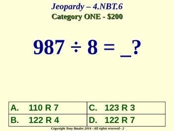 4th Grade Math Jeopardy Game Find Whole-Number Quotients and Remainders 4.NBT.6