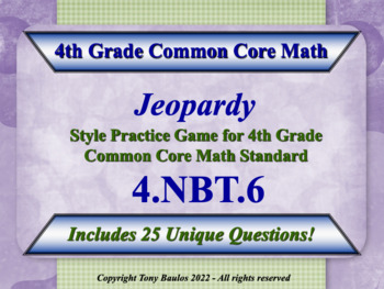 4th Grade Math Jeopardy Game Find Whole-Number Quotients a