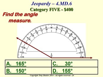 4th Grade Math Jeopardy Game - Measure Angles Using A Protractor 4.MD.6