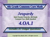 4th Grade Math Jeopardy Game - Multiplication As Comparison Word Problems 4.OA.1
